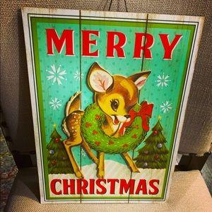 Retro Reindeer Christmas hanging /Stake sign